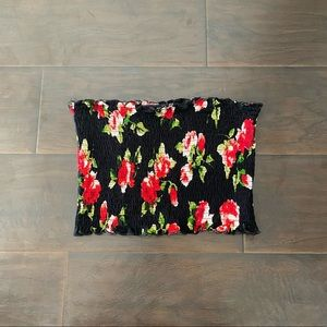 Shirred Floral Cropped Tube Top